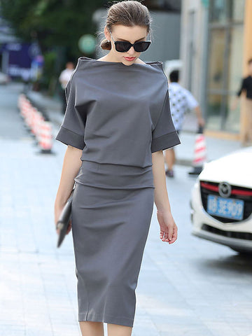 Brief Slash Neck Bat Sleeve Pure Color Slim Dress