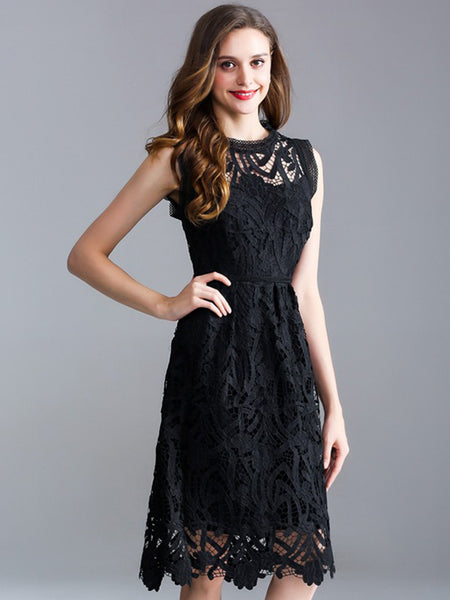 Elegant Lace Hollow Out O-Neck Sleeveless A-Line Dress