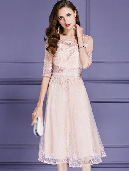 O-Neck Half Sleeve Embroidery Lace Skater Dress