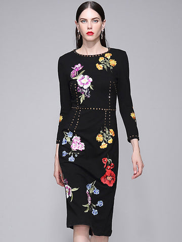 Embroidery O-Neck Long Sleeve Gathered Waist Bodycon Dress