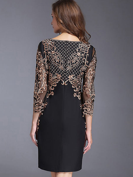 Chic O-Neck Long Sleeve Lace Embroidery Bodycon Dress
