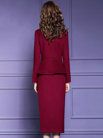 Beautiful Fake Two Piece Bowknot Collar Single-Breasted Coat & Split Dress