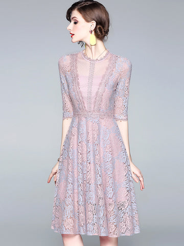 Cotton Stitching Lace 3/4 Sleeve A-Line Dress