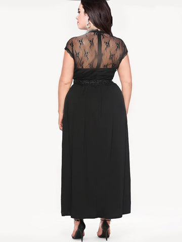 Oversize Party Pure Color Mesh Lace Maxi Dress