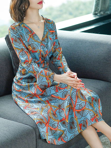 Stylish Print Flare Sleeve Purple Midi Dress