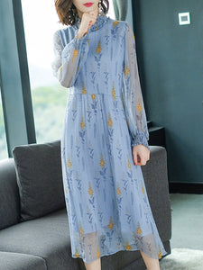 Blue Print Stand Collar Long Sleeve Shift Dress