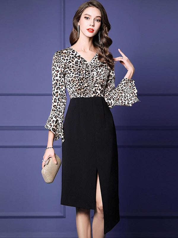 Classic V-Neck Ruffles Sleeves Leopard Asymmetrical A-Line Dress