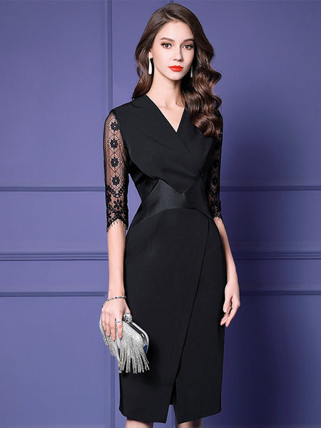 Elegant Lace Half Sleeve V-Neck Slim Split Bodycon Dress