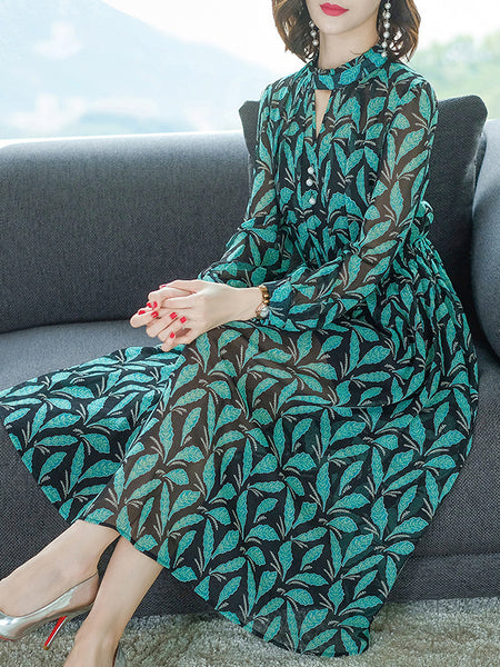 Elegant Green Chiffon Print Long Sleeve O-Neck Maxi Dress