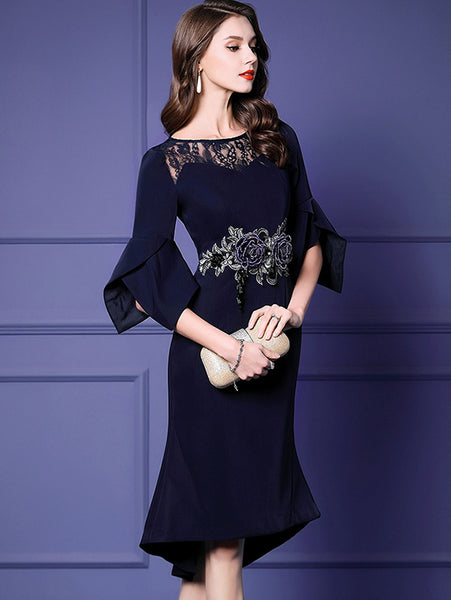 Lace Puff Sleeve Floral O-Neck Fishtail Bodycon Dress