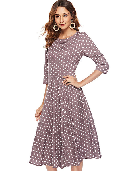 Vintage spot 3/4 Sleeve Slim Elegant Skater Dress