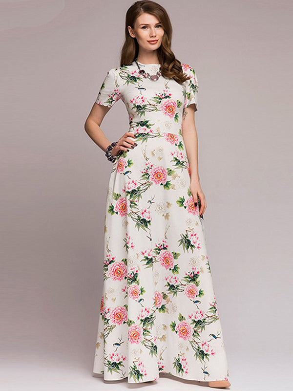 Bohemia Slim Short Sleeve Printed O-Neck Maxi dress