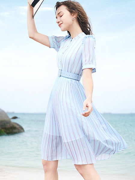 Striped Stand Collar Slim Chiffon Skater Dress