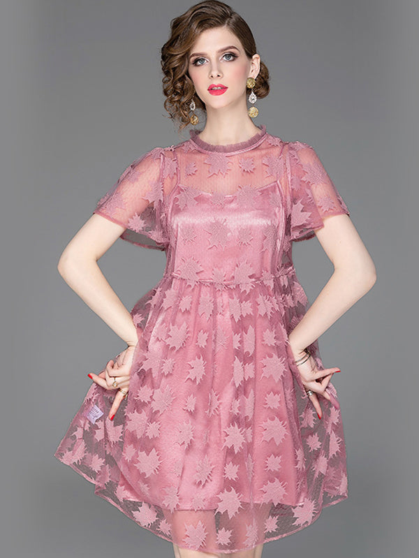 Fashion Embroidery  Pure Color Mesh Two Piece A-line Dress