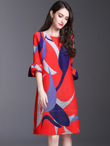 Stylish Print Half Flare Sleeve O-Neck Straight Dress