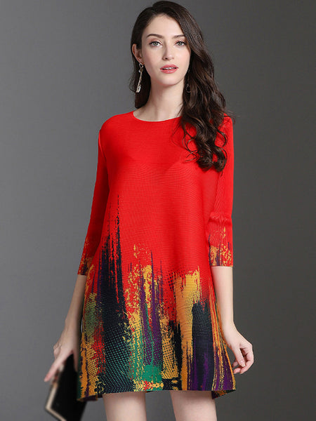 Simple Fashion Print 3/4 Sleeve O-Neck Shift Dress