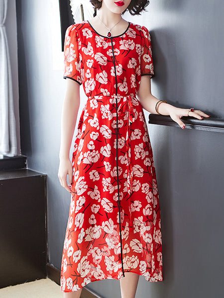 Floral Pattern Slim Short Sleeve Elastic Waist  Skater Dress