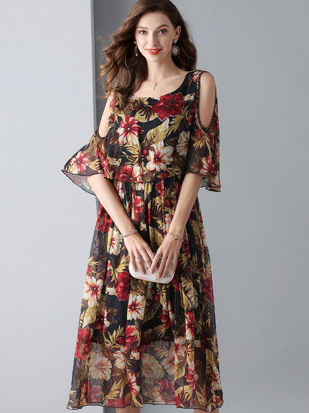 Sexy Silk O-Neck Ruffles Sleeve Slim Skater Dress