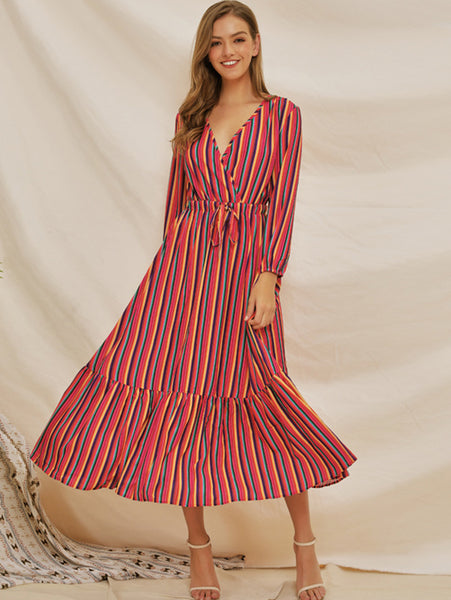 Street Strip Stitching Sashes V-Neck Long Sleeve Big Hem Maxi Dress