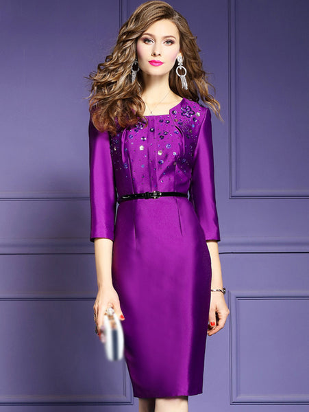 Vintage Silm Pure Color Beaded 3/4 Sleeve O-Neck A-line Bodycon Dress