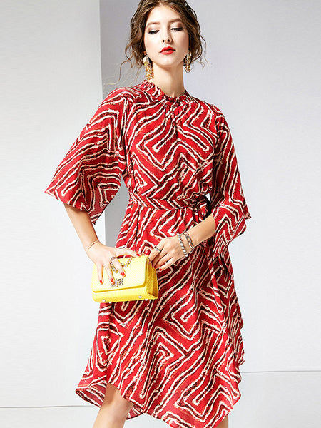 Fashion Stand Collar Lacing Red Asymmetrical Dress