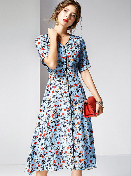 Popular V-Neck Short Sleeve Slim Skater Dress