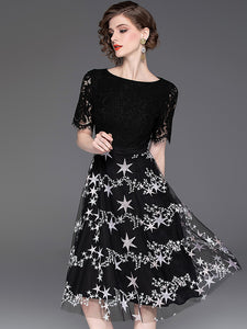 Fashion Star Pattern Lace Short Sleeve Black A-line Dress