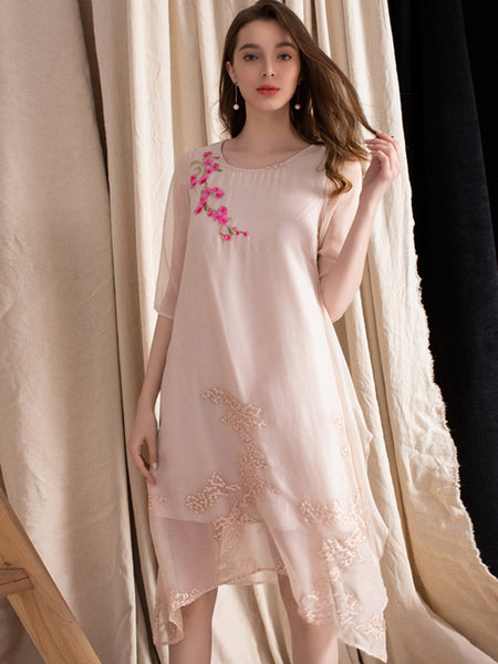 Casual Color Block Embroidery Half Sleeve Irregular Shift Dress