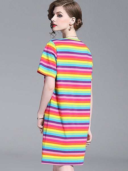 Casual Multi Strip O-Neck Short Sleeve Midi Shift Dress