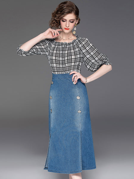 Sexy One Shoulder Denim Split Slim Bodycon Dress
