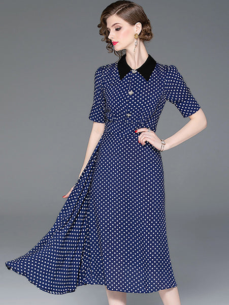 Fashion Turn Down Collar Asymmetrical A-Line Dress