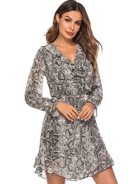 Sexy V-Neck Falbala Floral Long Sleeve Mini Dress