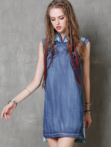 Vintage Patchwork Sleeveless Stand Collar Denim Shift Dress