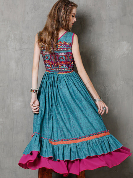 Ethnic Sleeveless Square Neck Big Hem Maxi Dress
