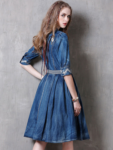 Fashion Half Sleeve Stand Collar Belted A-Line Dress