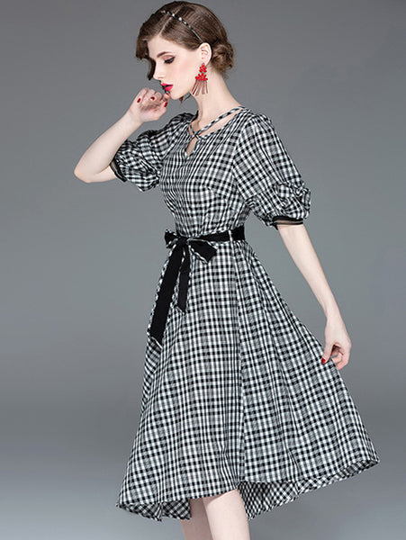 Plaid Vintage Puff Sleeve Sashes V-Neck Sheath Skater Dress