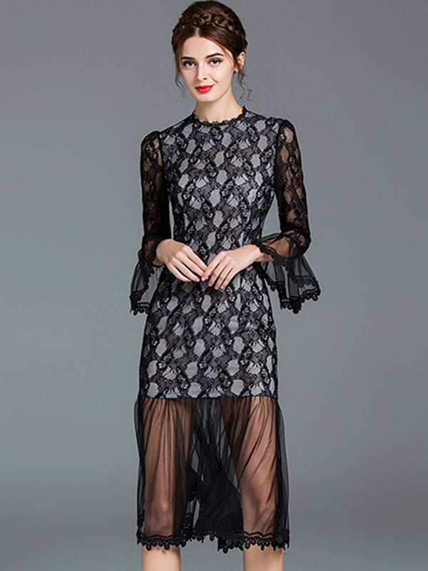 Sexy Long Sleeve Skinny Mesh Patchwork Skater Dress