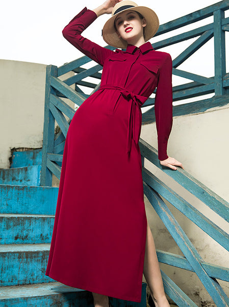 Vintage Claret Turn Down Collar Split Sexy Skater Shirt Dress