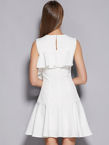White Casual Sleeveless Ruffles Sleeve Asymmetrical A-Line Dress