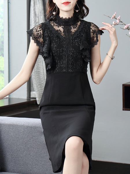 Black Lace Hollow-Out Stand Collar Skinny Mermaid Bodycon Dress