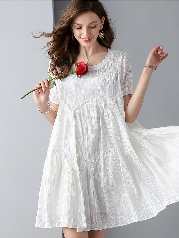 Elegant White High Waist O-Neck Pleated A-Line Dress