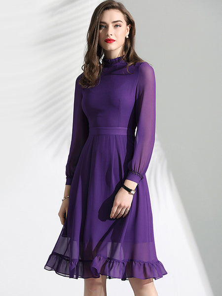 Elegant Ruffles Sleeve Slim Stand Collar Chiffon A-Line Dress