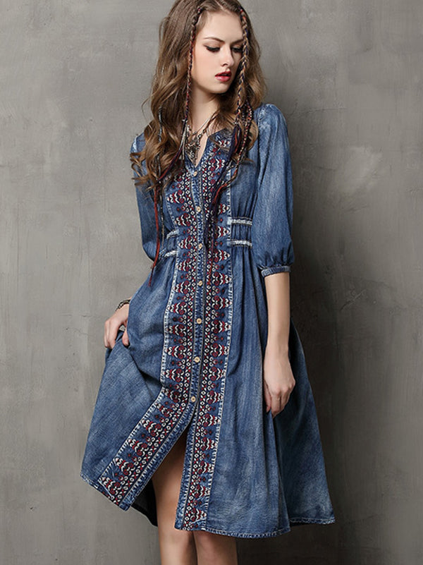 Ethnic Embroidery Drawstring Half Sleeve A-Line Denim Dress
