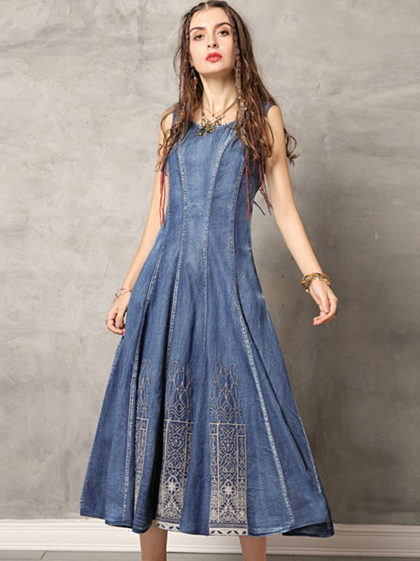 Chic O-Neck Slim Sleeveless Big Hem Denim Pleated Dress