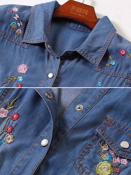 Embroidery Split Short Sleeve Belted Denim Skater Dress
