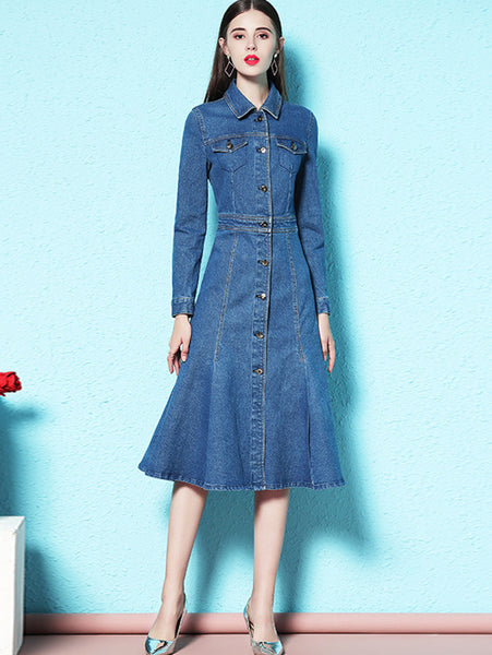 Stylish Blue Pockets Turn Down Collar Sheath Falbala Skater Dress