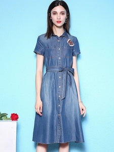 Casual Belted Short Sleeve Denim Skater Shirt Dress