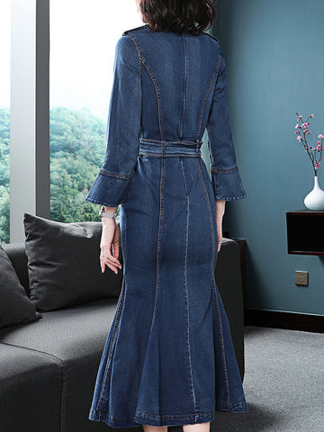 Fashion Ruffles Sleeve Slim Stand Collar Denim Mermaid Dress