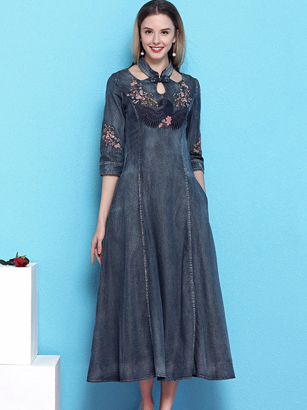 Vintage Denim Stand Collar Half Sleeve Slim Sexy Big Hem Dress