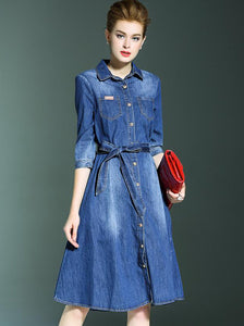 Vintage 3/4 Sleeve Single-breasted Denim Big Hem Skater Dress